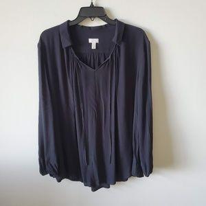 LOGO Lori Goldstein Oversized Black Blouse